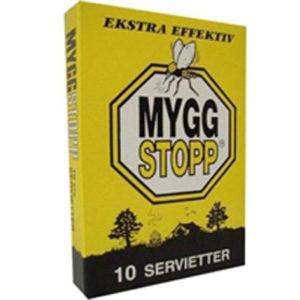 Myggstopp servietter holder myggen vekk. Myggstopp servietter er godt middel blandt myggmidler, et effektivt myggmiddel mot mygg.