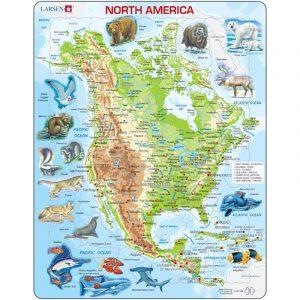 Puslespill fra Larsen puslespillfabrikk. Her kan du pusle kart over Nord-Amerika med dyr.