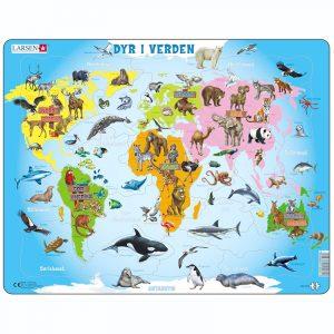 Puslespill Larsen puslespillfabrikk Spill med dyr i verden.
