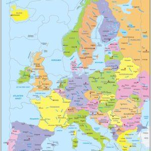 Puslespill fra Larsen puslespillfabrikk. Kart over Europa Politisk.