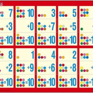 Puslespill Larsen puslespillfabrikk Addisjon 1-10. Puslespill med addisjonsoppgaver, hva må man legge til for å få 10?