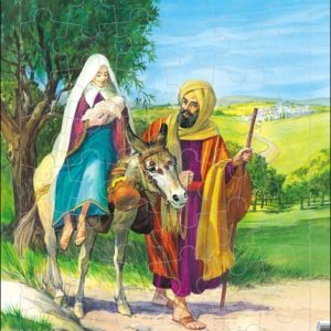 Puslespill Larsen puslespillfabrikk. Josef, Maria og Jesusbarnet på vei til Egypt.
