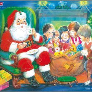 Julenissen bed barn. Et puslespiill fra Larsen puslespillfavrikk.