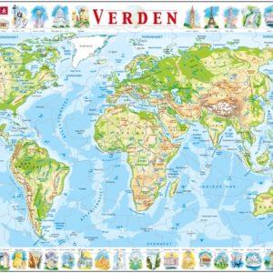 Puslespill Larsen puslespillfabrikk Kart over Verden. Verdenskart fysisk.