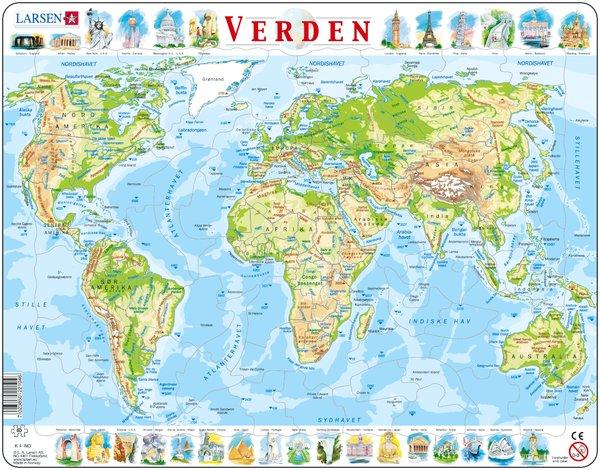 kart over hele verden Puslespill Verdenskart Fysisk | Hobbyfabrikken kart over hele verden
