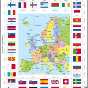 Puslespill med Kart og flagg i Europa. Fra Larsen puslespillfabrikk.