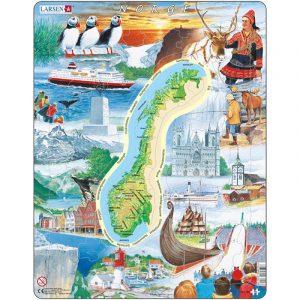 Puslespill fra Larsen puslespillfabrikk. Her kan du pusle norske attraksjoner. Kjente steder med kart.