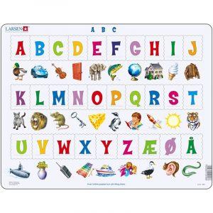 Puslespill fra Larsen puslespillfabrikk. Lær bokstavene i alfabetet. A B C