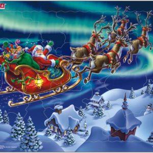 Puslespill Larsen puslespillfabrikk. Spill med Julenissen i nordlyset