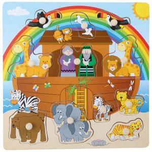 Noahs Ark puslespill. Knotte pusle med Noas ark. Noa og dyr.