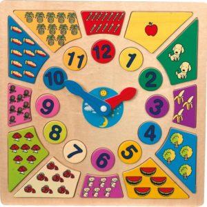 Puslespill Lær Klokken. Puslespillet er i tre med mengde forklart utenfor hvert tall med frukter.