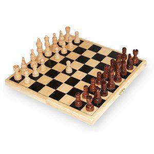 Sjakk spill i tre. 26 cm.