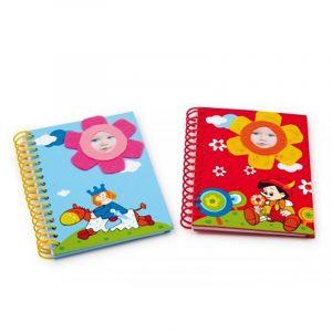 Notatbok for barn, liten søt. Sett med 2. To motiver. Fotoblomst notatblokk.