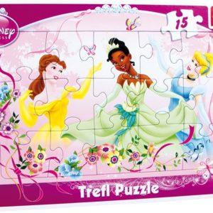 Rammepuslespill Prinsesser. 15 biter puslespill med de kjente Princess figurene fra Disney filmene.
