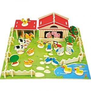 Bondegård byggesett. Bygge sett med gård, dyr, hund katt ku, ender, gris, gjerder og hus. Puslespill.