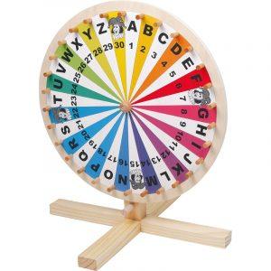 Lykkehjul med tall fra 1 - 30 og bokstaver fra A - Z. Med jokere.
