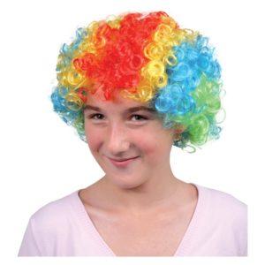 Parykk med farger og krøller Kunstig hår til Karneval, utkledning.