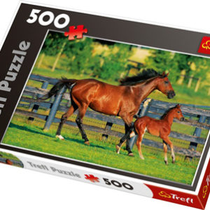 Puslespill hestefamilie, 500 biter. Galopperende hest med føll.