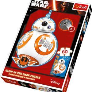 Puslespill Star Wars BB-8. 60 biter pusle fra Starwars filmene av Disney. Fluoriserende, selvlysende puslespill.