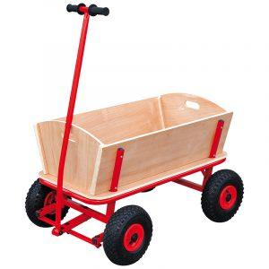 Håndkjerre Maxi. Håndvogn i tre og metall med gummihjul. Solid til å trekke, med sving. Transportvogn, transport vogn.