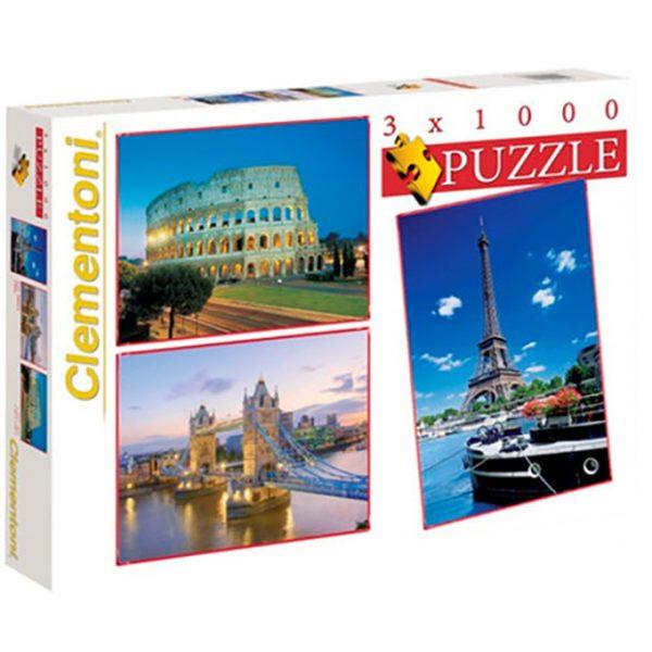 Puslespill 3 x 1000 brikker / biter. 3 byer, Roma, London og Paris.