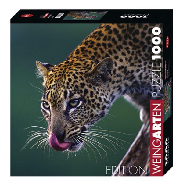 Puslespill Leopard 1000 biter / brikker. Dramatisk bilde av Leoparden i jungelen. Natur. Pusslespill fra Heye Puzzle.