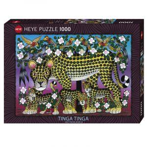 Puslespill Wildcat Family 1000 biter / brikker. Motivet er kunst fra Afrika. Tinga Tinga Art from Africa. Tanzania kunstneren Edvard Saidi. Pusslespill fra Heye Puzzle.