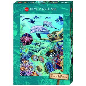 Puslespill Tropical Waters 500 biter / brikker. Tropisk hav. Motiv med mange detaljer. Pusslespill fra Heye Puzzle. Flora & Fauna serie.