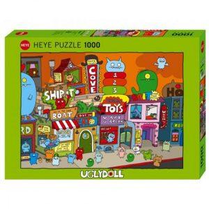 Puslespill Ugly Town 1000 biter / brikker. Tegneserie, motiv med mange detaljer. Pusslespill fra Heye Puzzle. Uglydoll Puzzle collection.
