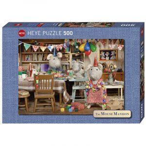 Puslespill Celebration 500 biter / brikker. Musenes fest, motiv med mange detaljer. Pusslespill fra Heye Puzzle. The Mouse Mansion serie.