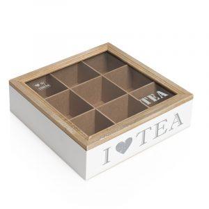 Teboks. Fin te boks med teksten I love tea. 9 rom med glass lokk.
