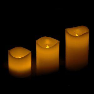 LED kubbelys 3 stk. Candle set. Home collection. Laget i voks.