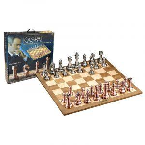Sjakk. Gigantisk sjakksett designet av Kasparov grandmaster. Kasparov Grandmaster silver and bronze chess set.