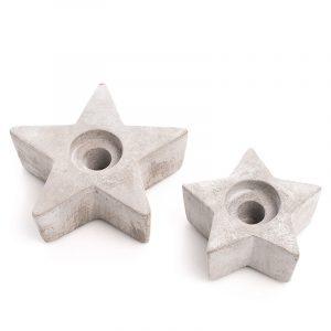 Cement - Star, 2 stk Betong stjerner. Telys holdere.