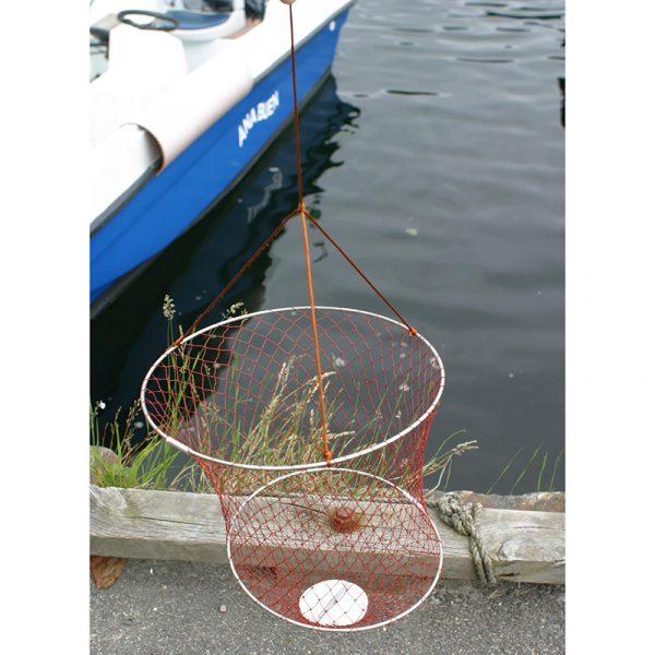 Fangstnett for småfisk og krabber. Sandkrabber, barnefiske, bryggefiske.