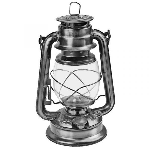 Fjøslykt 24cm sølv, parafinlampe, lampe, oljelampe.