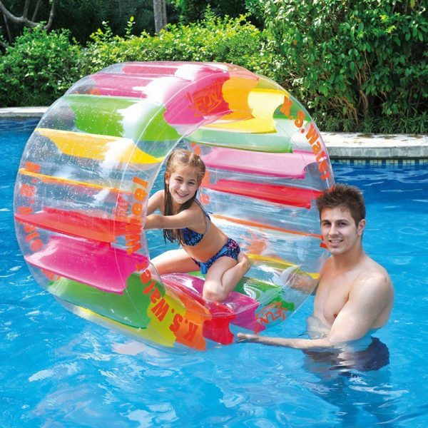 """Oppblåsbart vannhjul. Morsom vann leke, oppblåsbar stor flyteleke, badeleke, Badedyr, vannleke """"hamsterhjul""""."""
