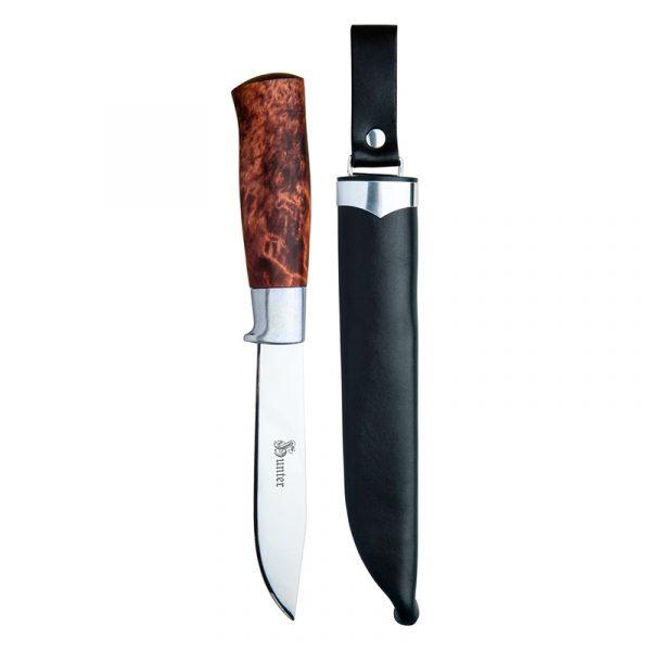 Kniv Brusletto Hunter i gaveboks. Jaktkniv, slire i farget okselær, skaft i oljet masurbjørk.