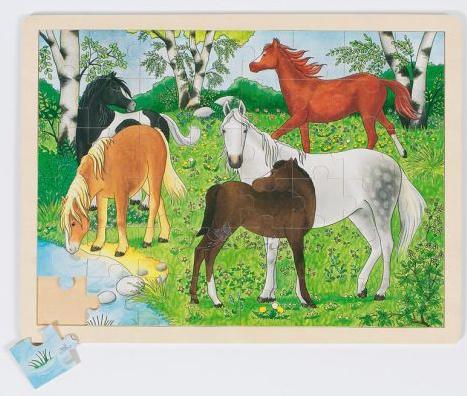 Puslespill i tre fra Goki. Hest er best. Hester.