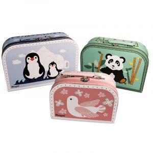 Koffert sett. Tre koselige små barnekofferter.