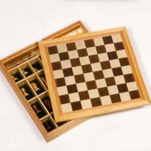 Sjakk, Dam og Mølle fra goki. SPill i solid tre.