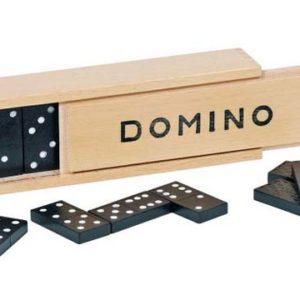 Domino spill med 28 brikker. Klassisk i tre eske.