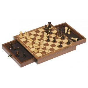 Sjakk spill fra Goki. Magnetisk, Chess, Tre med skuffer.