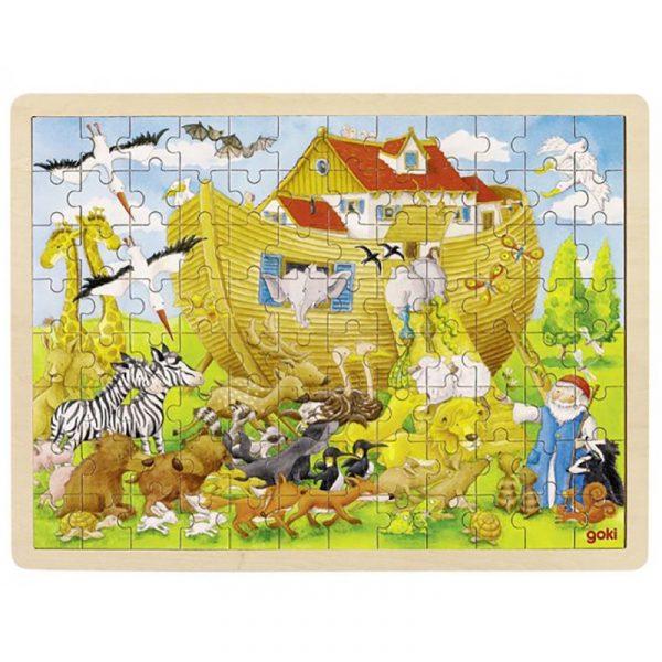 Puslespill i tre fra Goki. Noah`s Ark. 96 biter puzzle.