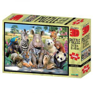 Exotic Wildlife Super 3D puslespill, 500 biter