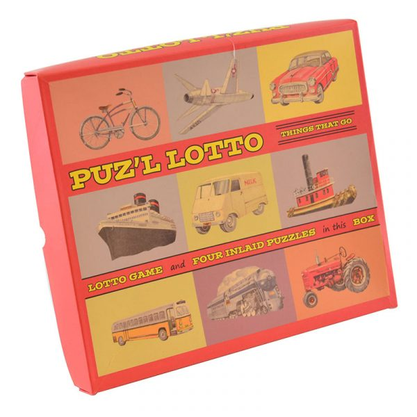Pusle lotto nostalgisk. Memo spill med fire puslespill brett.