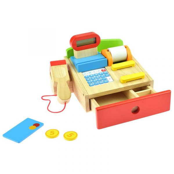 Kasse til butikkleken fra Goki. Med fungerende kalkulator. En lek og lær leke til rollespill butikk lek.
