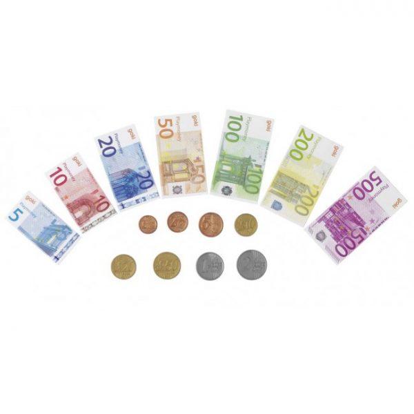 Lekepenger. Sett som inneholder sedler og mynter med leke penger. Fra Goki.