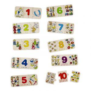 Puslespill lær å telle. Et puzzle i tre fra Goki.