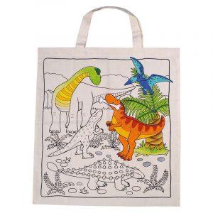 Bomullsnett dinosaurer fra Goki. Tekstil, hobby, fargelegg, handlenett.